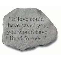Stone - If Love Could #807 926, 791 Viviano weatherproof cast stone garden  memorial with quote, sympathy gift