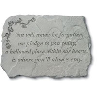 Stone - You Will Never Be Forgotten #807 942, 792 Viviano weatherproof cast stone garden  memorial with poem, sympathy gift