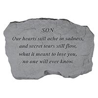 Garden Stone Son Our Hearts #807999 Viviano weatherproof memorial gift