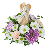 Birthday Angel #81018W  Viviano Flower Shop arrangement in pastel shades of blush and  lavender w/foundations keepsake