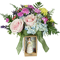 Birthday Wish #81618  Viviano floral gift with keepsake angel for birthday by artist Kelly Rae Roberts