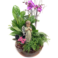 Garden Prayers #81714W Viviano greenhouse sympathy funeral arrangement with angel statue