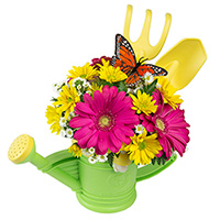 Gardening With Mommy #83517 Viviano Flower Shop new baby or mother's gift arrangement in a  watering can set by green toys