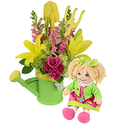 Baby Bloomer #83717 viviano,com Flower Shop new baby arrangement w/ watering can rake & shovel w/lilies spray roses, hydrangea, and snaps