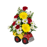 #84617B My First Truck Viviano new baby arrangement in ecofriendly dump truck