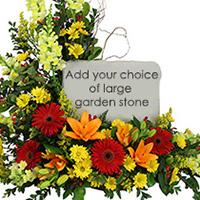Garden Stone Tribute #86416 Viviano Flower Shop sympathy arrangement to accent a  garden stone