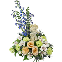 Angel's Wings #86617W  Viviano sympathy arrangement with Foundations angel keepsake