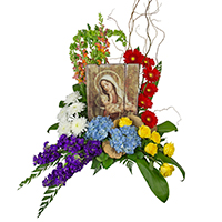 In My Arms #86717W Viviano Flower Shop sympathy arrangement  with Madonna and Child art plaque
