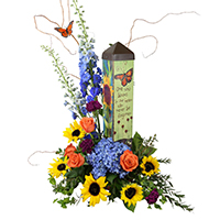 Totem Arrangement #87118 viviano Flower Shop sympathy or memorial gift with garden art pole by Studio M