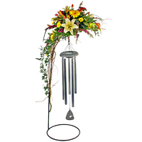 Forever Remembered #88314W Viviano Flower Shop sympathy floral arrangement with keepsake hook stand and wind chimes