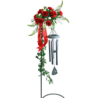 Strength For The Day #88316W Viviano funeral & memorial service floral arrangement with wind chimes and stand