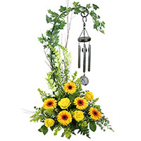 Angels Among Us #88416W Viviano  funeral & memorial service floral arrangement with wind chimes & lg stand