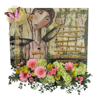 Faith And Courage #89416  Viviano Flower shop sympathy arrangement with artwork canvas by Kelly Rae Roberts