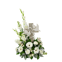 Wings of Peace #89818W Viviano keepsake sympathy or memorial  gift with floral arrangement