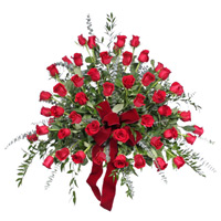 Classic Rose 3/4 Round Side Piece #90011 Viviano Flower Shop funeral floral side piece suitable  for urn display, dozens of roses
