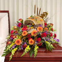 Tribute Casket Spray #90206 Viviano Flower  Shop custom themed funeral cover  floral design
