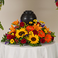 Tuscan Memorial #91316 Viviano Flower Shop cremation memorial service floral arrangement with sunflowers
