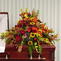 Garden Casket Spray #91406 Viviano funeral service floral arrangement