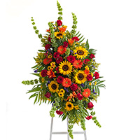 Tuscan Spray on Easel #91716 Viviano Flower Shop funeral & memorial service floral arrangement