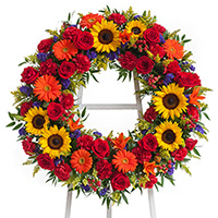 Tuscan Wreath on Easel #91816 Viviano Flower Shop funeral & memorial service floral arrangement