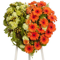 Garden Heart on Easel #92106 Viviano Flower Shop  funeral floral tribute arrangement