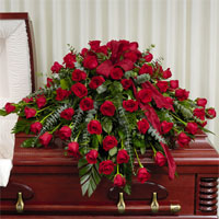 Classic Rose Casket Spray #92406 Viviano Flower Shop funeral floral arrangement with  dozens of roses