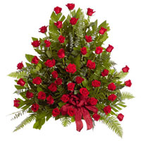 Classic Rose Side Piece #92506 Viviano Flower Shop traditional funeral floral arrangement with dozens of roses