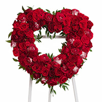 Classic Rose Heart on Easel #92606 Viviano Flower Shop funeral, memorial wreath   arrangement with dozens of roses