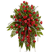 Classic Rose Spray on Easel #92706 Viviano  Flower Shop funeral arrangement with dozens of roses
