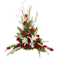 Classic Rose Traditions #93106 Viviano Flower Shop floral arrangement with roses and lilies for sympathy, funeral, memorial