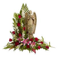 Classic Rose Prayers #93206W Viviano Flower Shop floral sympathy arrangement w/ angel garden statue