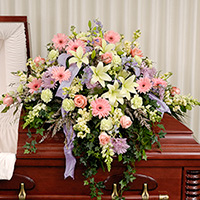 Sweet Sentiments Casket Spray #93306 Viviano Flower Shop pastel floral arrangement, funeral casket cover