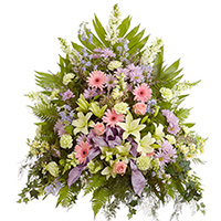 Sweet Sentiments Side Piece  #93406 Viviano Flower Shop traditional funeral arrangement in pastels