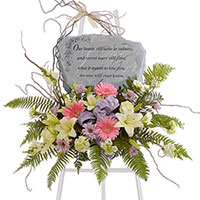 Sweet Sentiments Stone Tribute #93706 Viviano Flower Shop keepsake sympathy gift of floral arrangement to accent stone