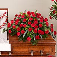 Classic Carnation Casket Spray #95616 Viviano Flower Shop funeral service floral arrangement covering
