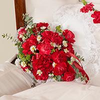 Classic Carnation Heart Lid Piece #95716 Viviano Flower Shop funeral service floral arrangement inside pillow accent