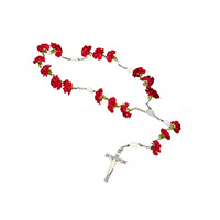 Classic Carnation Rosary #95816 Viviano funeral service floral arrangement with silver rosary
