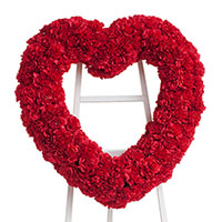 Classic Carnation Heart on Easel #96116 Viviano Flower Shop funeral & memorial service floral accent arrangement