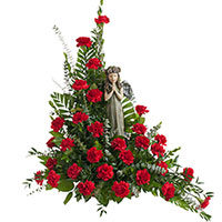 Classic Carnation Prayers #96516W Viviano Flower Shop funeral & memorial service floral arrangement accent with angel