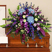 Serene Casket Spray #96716 Viviano funeral service floral arrangement covering with hydrangea, roses