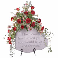 Elegant Rose Stone Tribute #99413 Viviano Flower Shop floral sympathy arrangement to accent a  keepsake garden stone